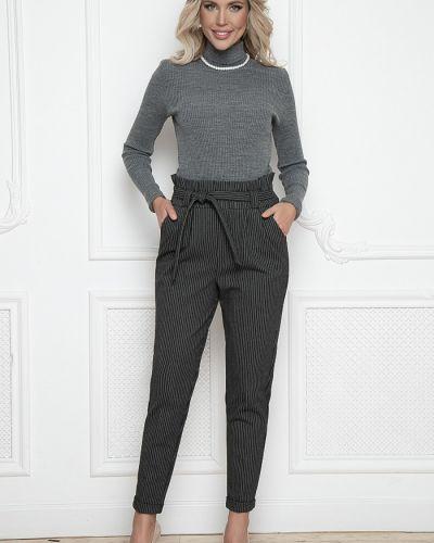 Шерстяные классические брюки на резинке в полоску Bellovera