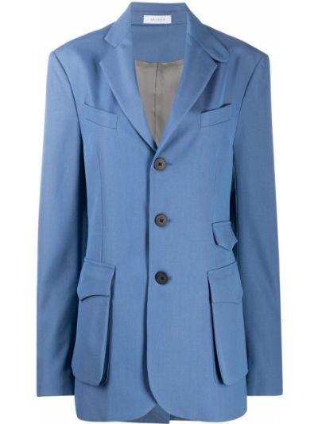 Синий сатиновый пиджак с карманами с лацканами Delada
