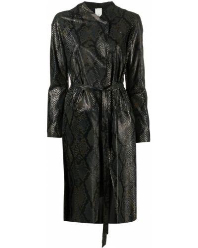 Прямое черное кожаное длинное пальто Giorgio Brato