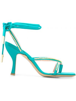 Босоножки на каблуке - синие Gia Couture