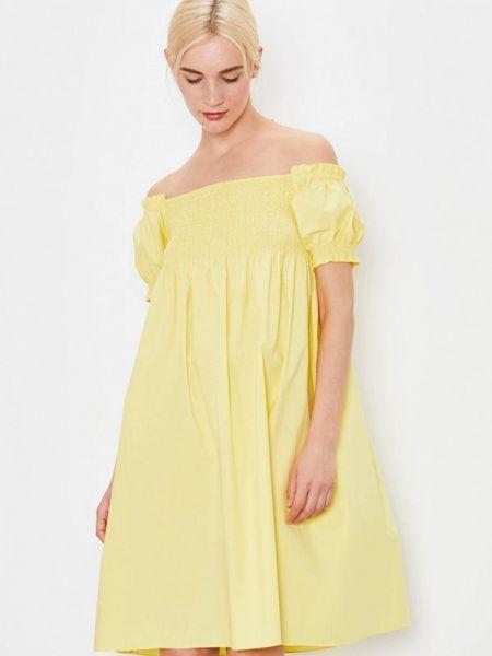 Желтое платье с открытыми плечами Lime
