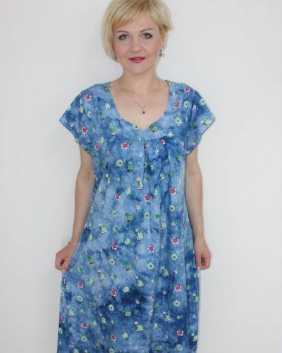 Синее платье из штапеля инсантрик
