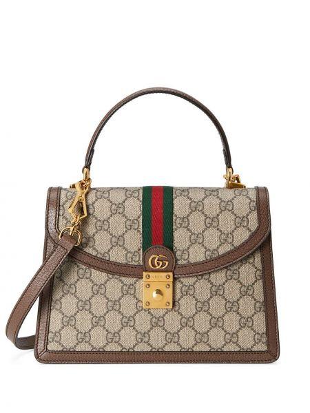 Кожаная коричневая маленькая сумка на молнии Gucci