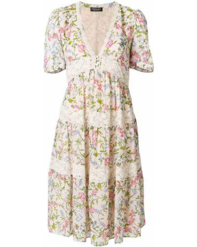 Платье мини с цветочным принтом с V-образным вырезом солнце Twin-set