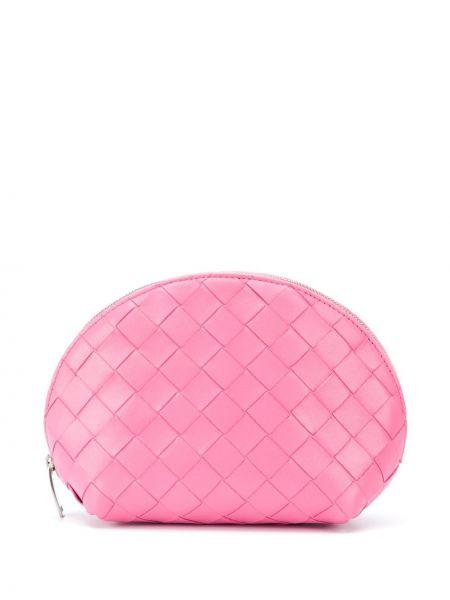Розовая кожаная косметичка на молнии Bottega Veneta
