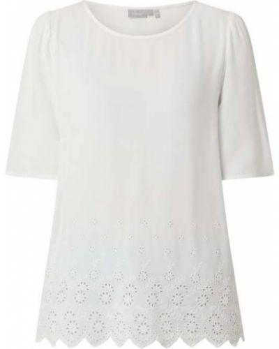 Biały t-shirt z haftem z wiskozy Fransa