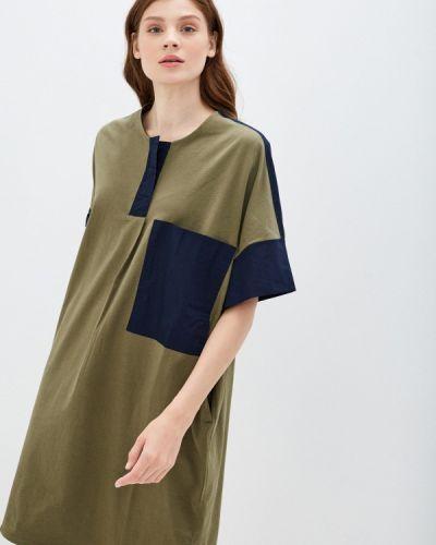 Прямое зеленое платье United Colors Of Benetton
