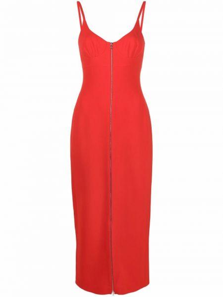 Прямое красное платье-футляр с вырезом David Koma