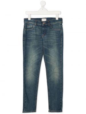 Кожаные джинсы-скинни на молнии с нашивками Gucci Kids