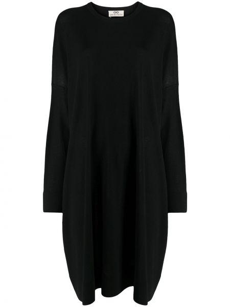 Черное тонкое платье с рукавами свободного кроя с вырезом Sminfinity
