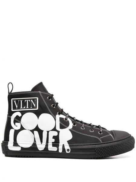 Черный ажурный топ на шнуровке круглый Valentino