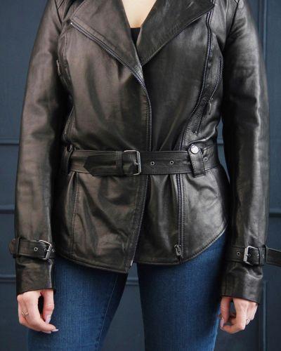 Кожаная куртка классическая - черная Rozetka
