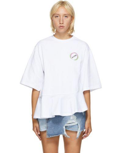 Черная асимметричная рубашка с коротким рукавом с вышивкой с воротником Sjyp
