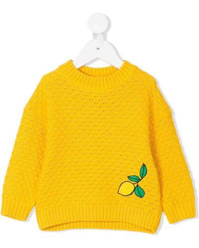 Хлопковый желтый вязаный свитер Mini Rodini
