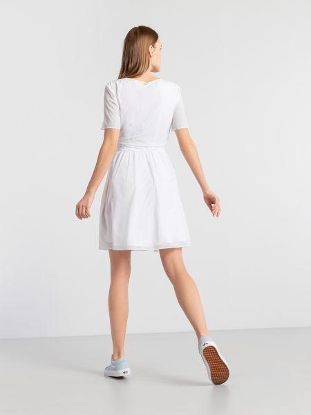 Белое платье мини с поясом с вырезом Armani Exchange