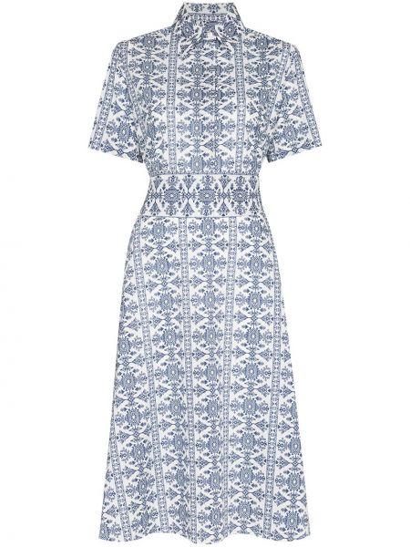 Biała sukienka midi bawełniana krótki rękaw Evi Grintela