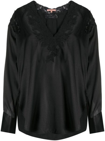 Черная ажурная блузка с длинным рукавом с V-образным вырезом на пуговицах Ermanno Scervino