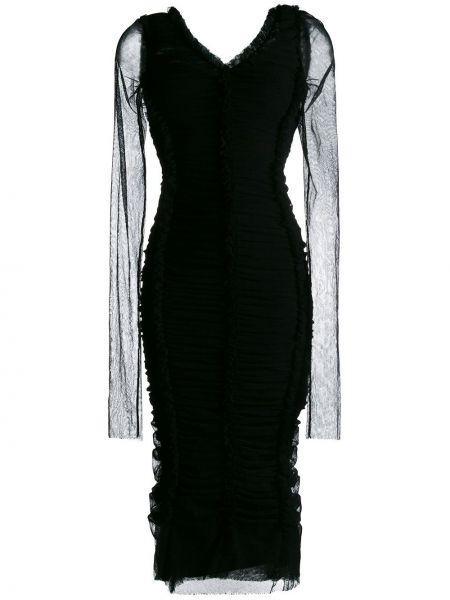 Шелковое черное платье макси прозрачное Dolce & Gabbana