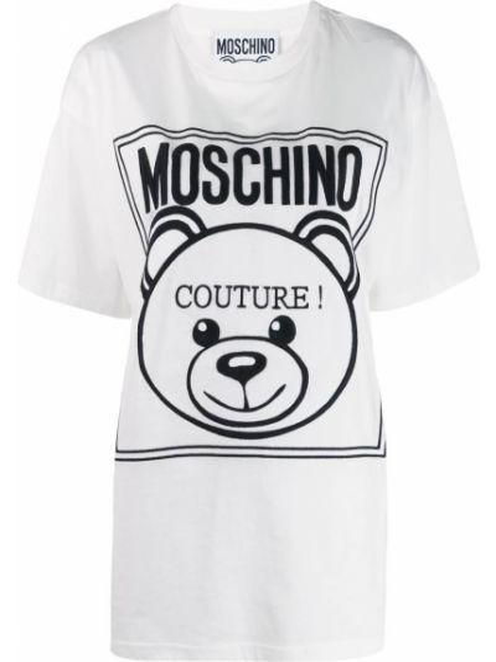 Футболка белая с логотипом Moschino