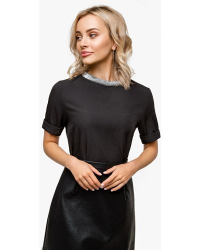 Блузка с коротким рукавом осенняя черная Solou