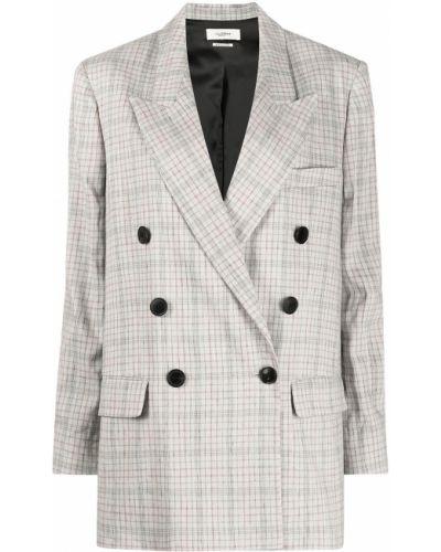 Льняной серый удлиненный пиджак двубортный Isabel Marant étoile