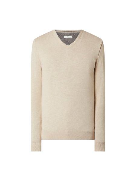 Prążkowany beżowy sweter bawełniany Tom Tailor