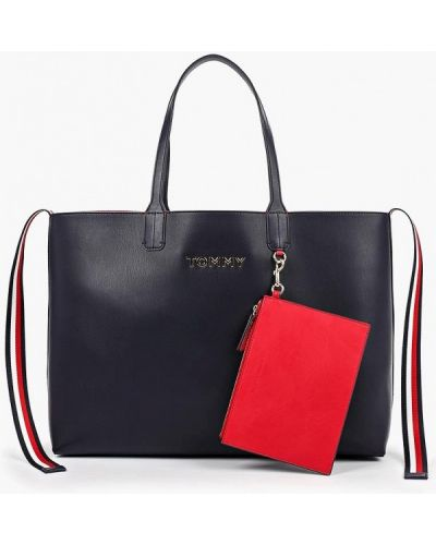 Кожаная сумка шоппер красная Tommy Hilfiger