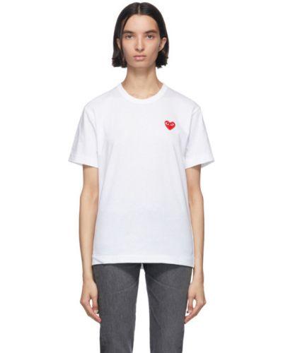 Biały bawełna koszula z krótkim rękawem z kołnierzem z haftem Comme Des Garcons Play