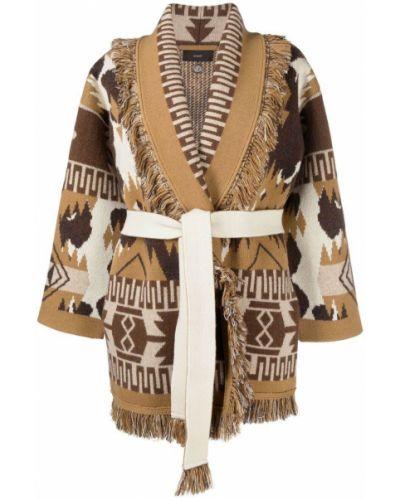 Коричневое кашемировое длинное пальто с лацканами Alanui