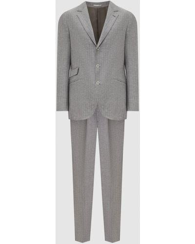 Костюмный серый льняной костюм Brunello Cucinelli