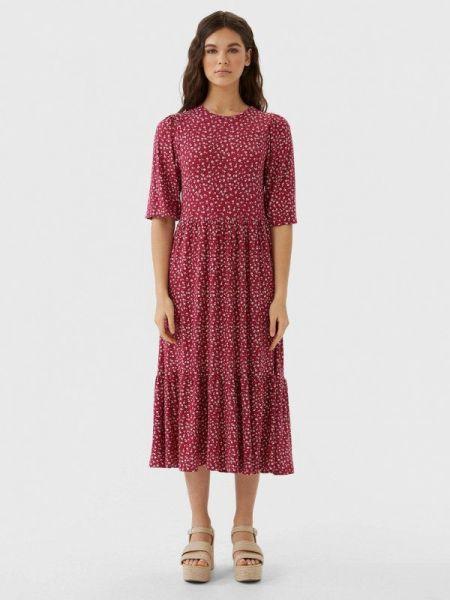 Платье бордовый прямое Stradivarius