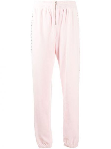 Ватные хлопковые розовые брюки с манжетами Juicy Couture