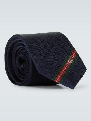 Шелковый синий галстук Gucci