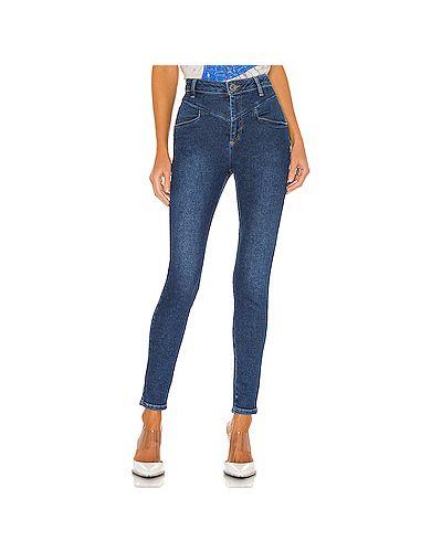 Синие хлопковые зауженные джинсы-скинни One Teaspoon
