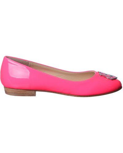 Розовые балетки кожаные Love Moschino