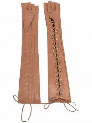 Rękawiczki bez palców koronkowe - brązowe Manokhi