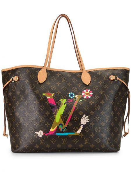 Коричневая кожаная сумка-тоут на молнии Louis Vuitton