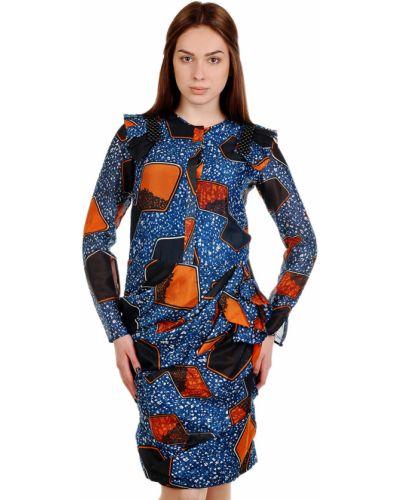 Шелковое платье - синее Burberry Prorsum