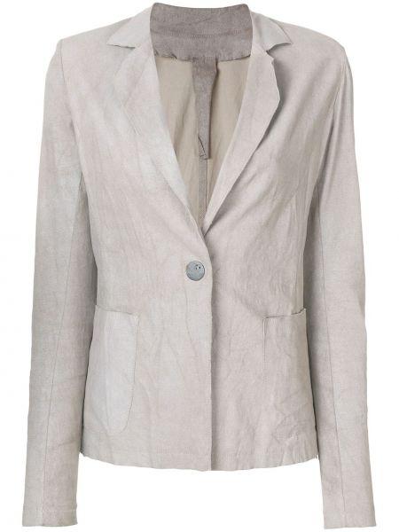 Серый приталенный кожаный классический пиджак Vanderwilt