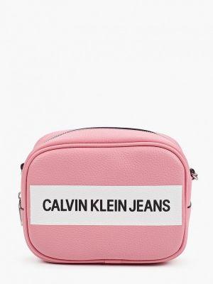 Кожаная сумка через плечо - розовая Calvin Klein Jeans