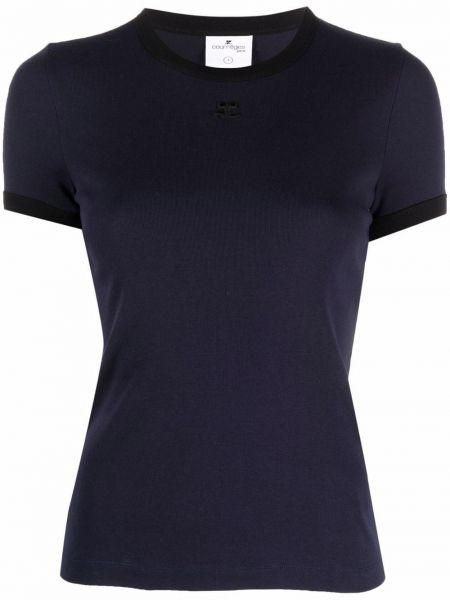 Niebieska t-shirt bawełniana Courreges