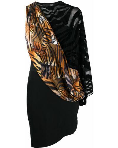 Черное платье на одно плечо из вискозы Just Cavalli