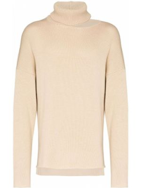Beżowy sweter wełniany z długimi rękawami Sulvam