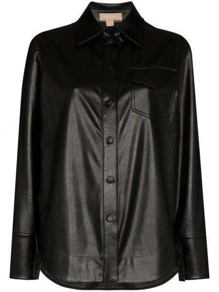 Кожаный черный топ с манжетами с карманами Matériel