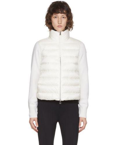Nylon biały pikowana kurtka z kieszeniami z długimi rękawami Moncler
