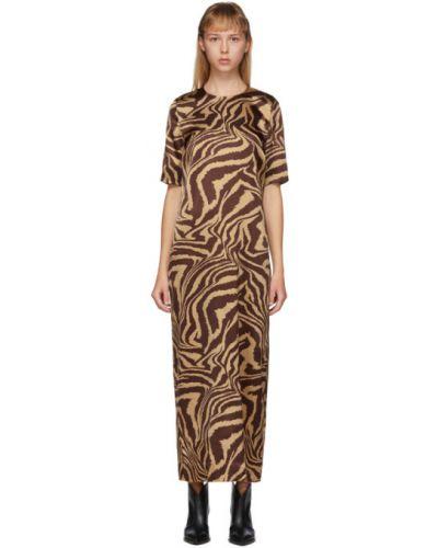 Платье с отложным воротником шелковое Ganni
