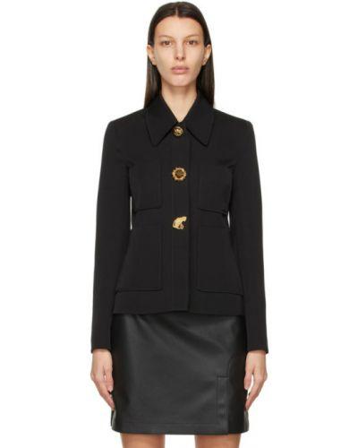Шерстяной черный удлиненный пиджак с накладными карманами Stella Mccartney