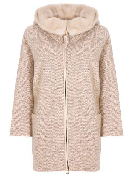 Пальто с капюшоном бежевое на молнии Agnona