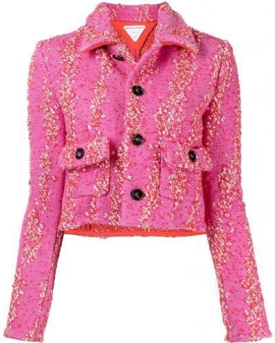 Розовый классический пиджак с воротником на пуговицах Bottega Veneta
