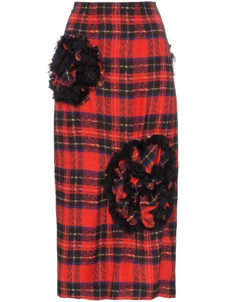 Красная с завышенной талией юбка на молнии с декоративной отделкой Simone Rocha